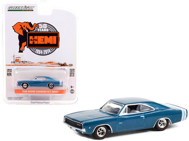 1968 Dodge Charger R/T HEMI Blue Metallic White Stripes 426 HEMI 50 Years Anniversary 1964 2014 Anniversary Collection Series 12 1/64 Diecast Model Car Greenlight 28060 E