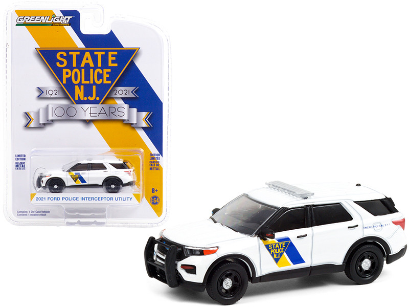 2021 Ford Police Interceptor Utility White New Jersey State Police 100th Anniversary 1921 2021 Anniversary Collection Series 12 1/64 Diecast Model Car Greenlight 28060 F
