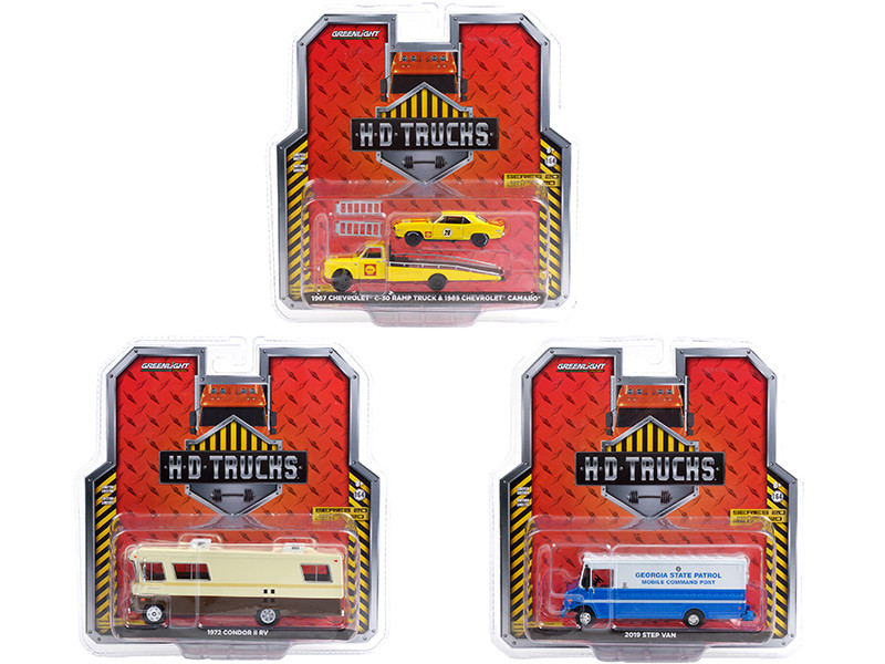 Heavy Duty HD Trucks Set of 3 pieces Series 20 1/64 Diecast Models Greenlight 33200