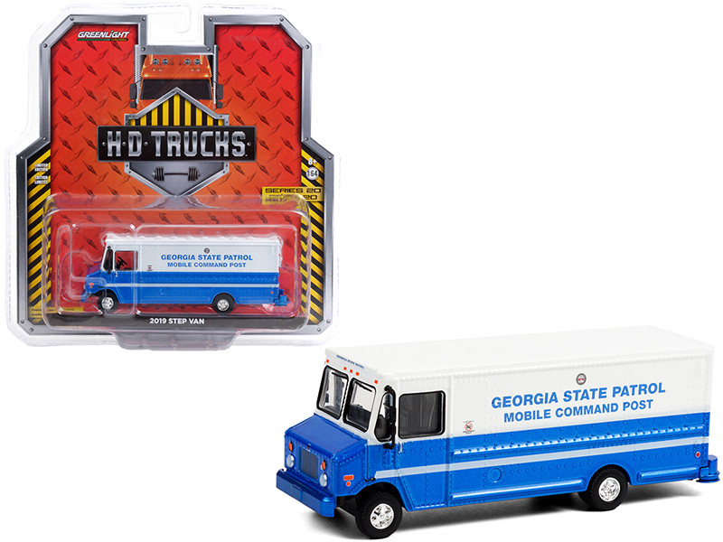 2019 Step Van Georgia State Patrol Mobile Command Post Blue White HD Trucks Series 20 1/64 Diecast Model Greenlight 33200 C