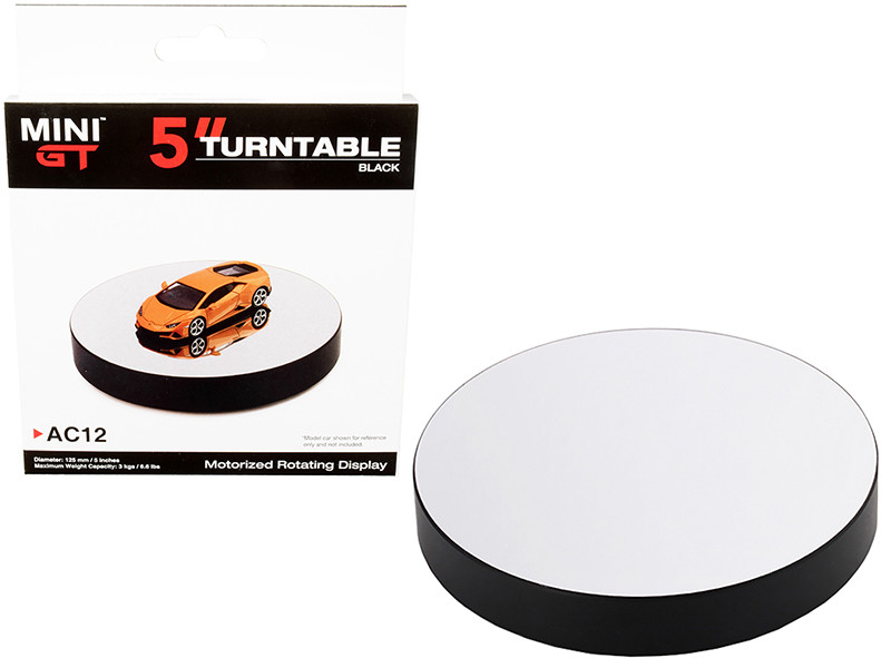 Rotary Display Turntable 5 Inches Black Mirror Surface 1/64 Scale Models True Scale Miniatures MGTAC12
