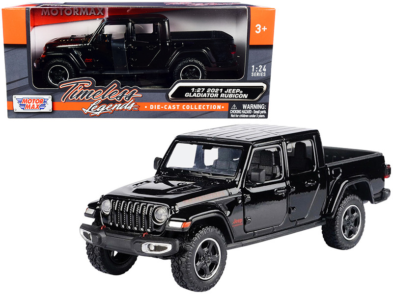 2021 Jeep Gladiator Rubicon Closed Top Pickup Truck Black 1/24 1/27 Diecast Model Car Motormax 79368