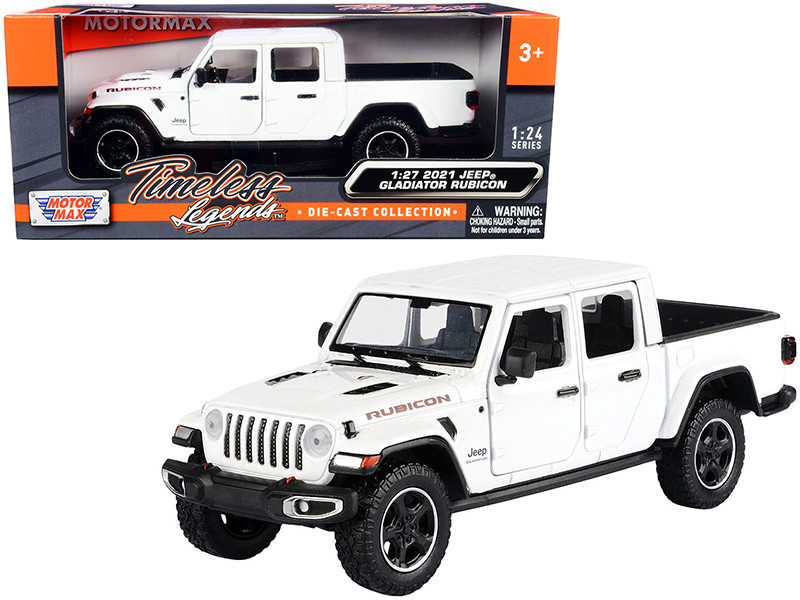2021 Jeep Gladiator Rubicon Closed Top Pickup Truck White 1/24 1/27 Diecast Model Car Motormax 79368