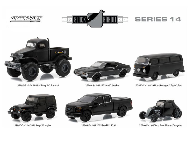 Black Bandit Series 14 6pc set 1/64 Diecast Model Cars Greenlight 27840