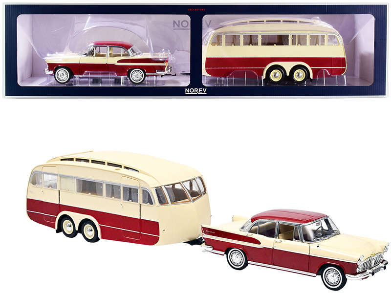 1958 Simca Vedette Chambord Caravane Henon Travel Trailer Cardinal Red Ivory Set 2 pieces 1/18 Diecast Model Car Norev 185728