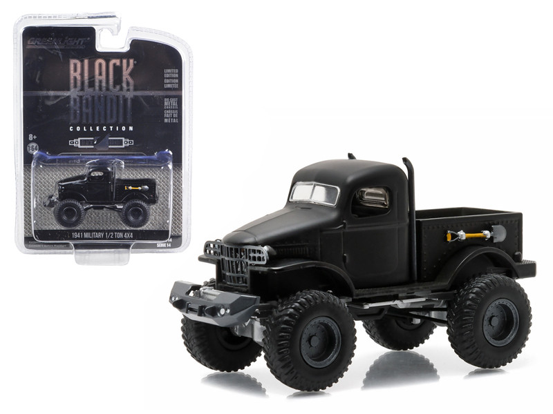 1941 Military 1/2 Ton 4x4 Pick Up Truck Black Bandit 1/64 Diecast Model Greenlight 27840 A