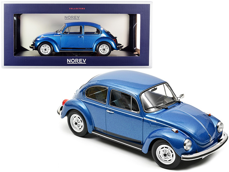 1973 Volkswagen 1303 City Blue Metallic Black Stripes 1/18 Diecast Model Car Norev 188525
