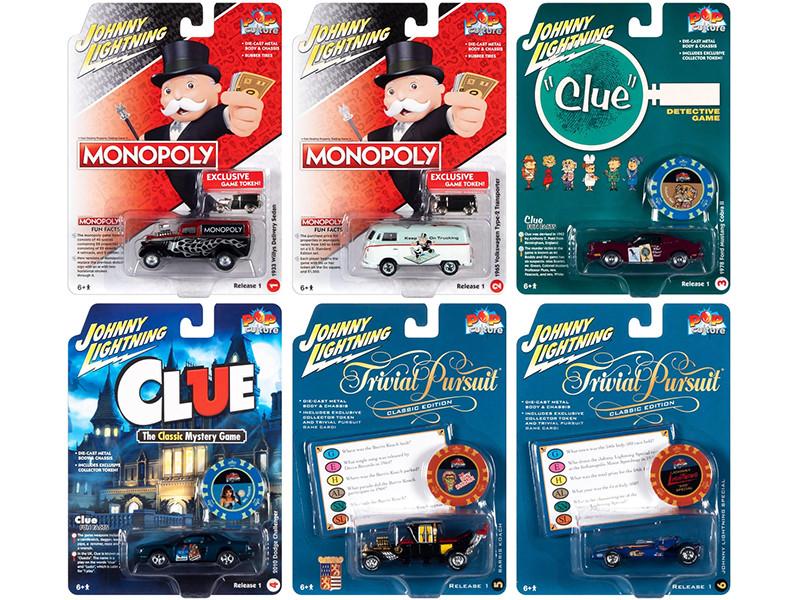 Pop Culture 2021 Set of 6 Cars Release 1 1/64 Diecast Model Cars Johnny Lightning JLPC003
