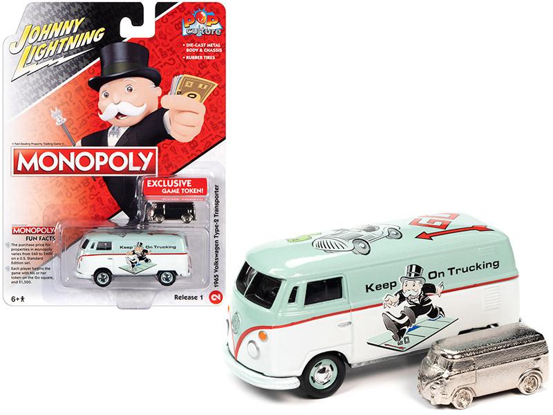 1965 Volkswagen Type 2 Transporter Light Green White Game Token Monopoly Pop Culture Series 1/64 Diecast Model Car Johnny Lightning JLPC003 JLSP133