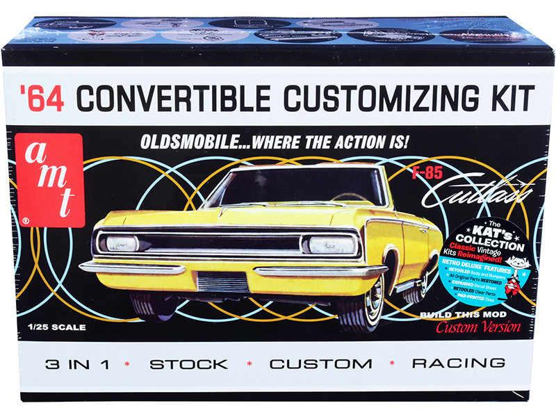 Skill 2 Model Kit 1964 Oldsmobile Cutlass F-85 Convertible 3-in-1 Kit 1/25 Scale Model AMT AMT1200