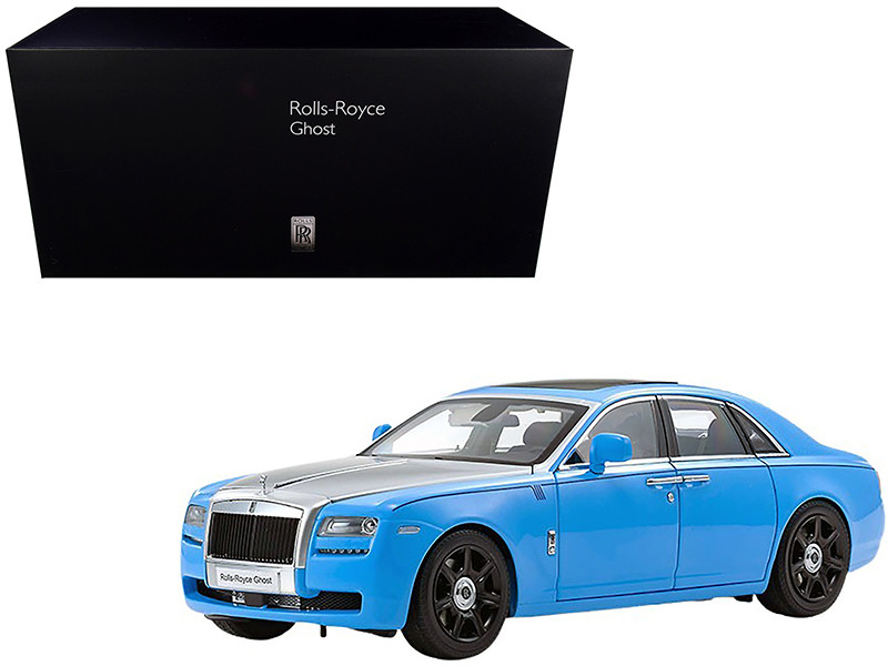 Rolls Royce Ghost Light Blue Silver 1/18 Diecast Model Car Kyosho 08802 LBS