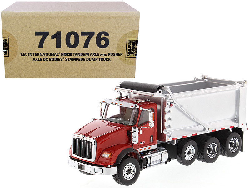 International HX620 Tandem Axle Pusher Axle OX Stampede Dump Truck Red and Chrome Transport Series 1/50 Diecast Model Diecast Masters 71076