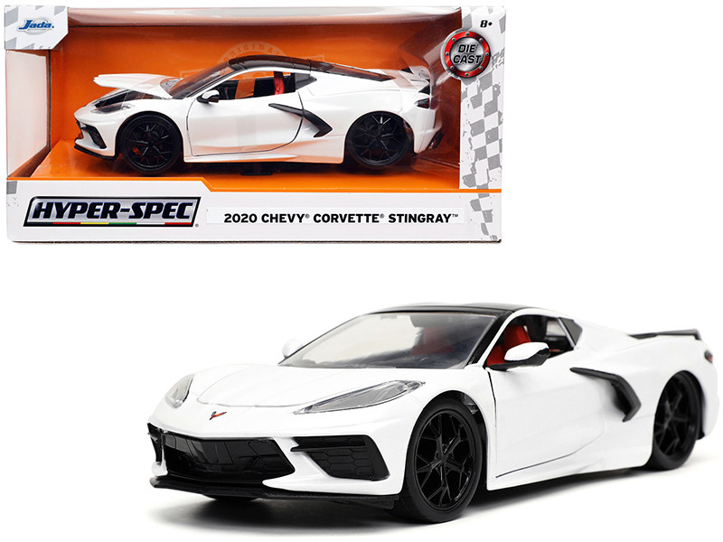 2020 Chevrolet Corvette Stingray C8 White Black Top Hyper-Spec Series 1/24 Diecast Model Car Jada 32718