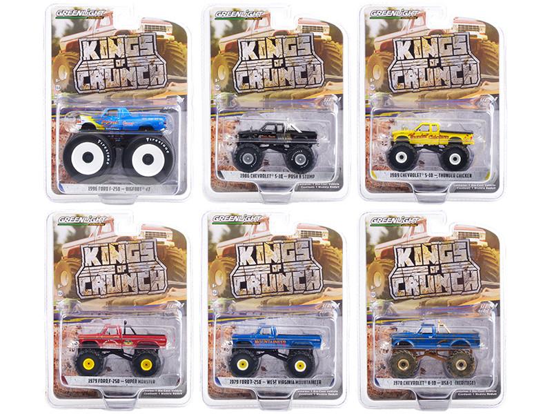 Kings of Crunch Set of 6 Monster Trucks Series 9 1/64 Diecast Model Cars Greenlight 49090