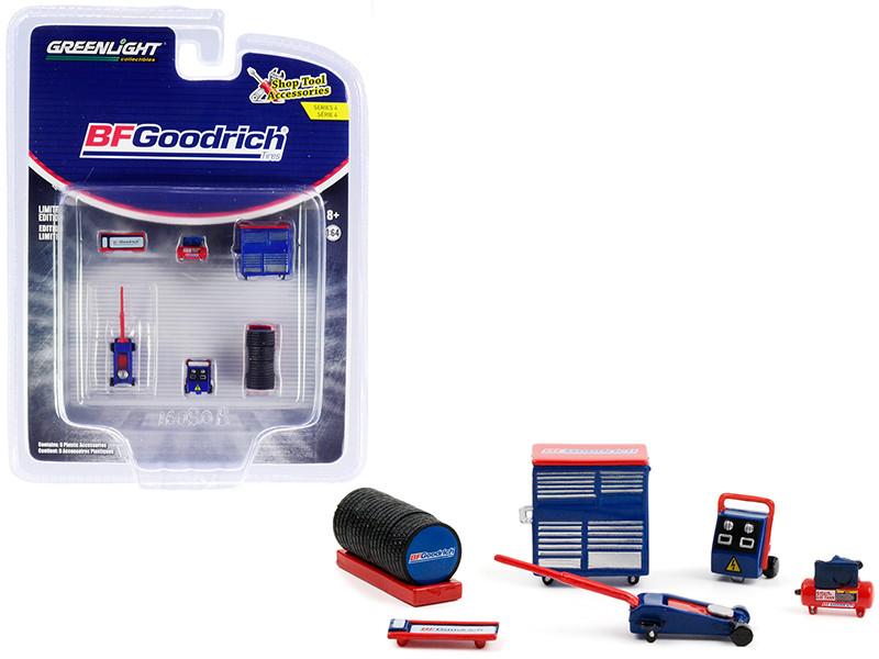 BFGoodrich Tires 6 piece Shop Tools Set Shop Tool Accessories Series 4 1/64 Models Greenlight 16080 B