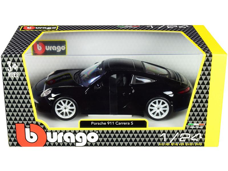 Porsche 911 Carrera S Black Silver Wheels 1/24 Diecast Model Car Bburago 21065