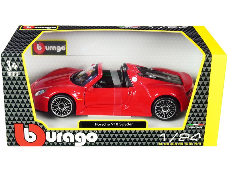 Porsche 918 Spyder Convertible Red 1/24 Diecast Model Car Bburago 21076