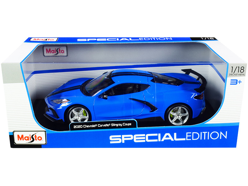 2020 Chevrolet Corvette Stingray C8 Coupe High Wing Blue Black Stripes 1/18 Diecast Model Car Maisto 31455