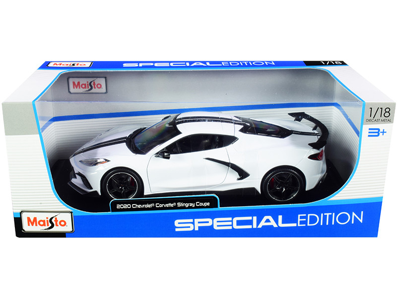 2020 Chevrolet Corvette Stingray C8 Coupe High Wing White Black Stripes 1/18 Diecast Model Car Maisto 31455