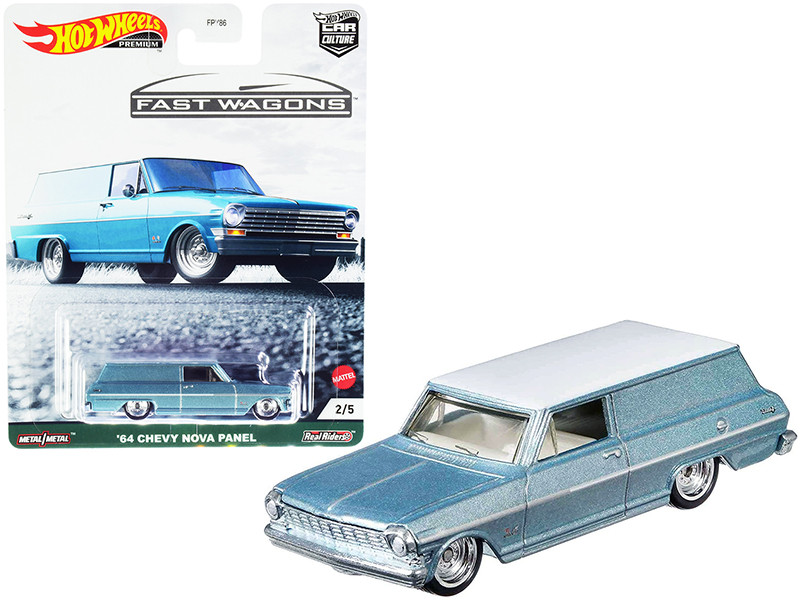 1964 Chevrolet Nova Panel Light Blue Metallic White Top Fast Wagons Series Diecast Model Car Hot Wheels GRJ66