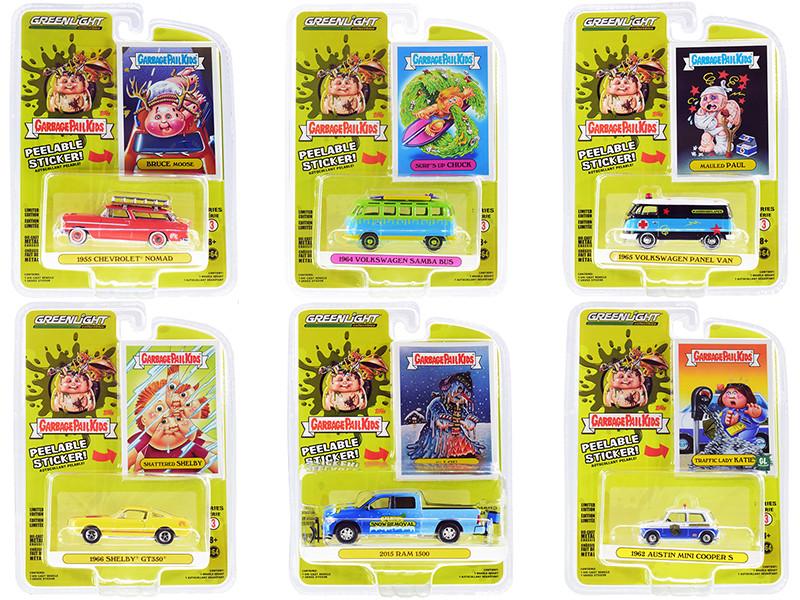 Garbage Pail Kids Set 6 pieces Series 3 1/64 Diecast Model Cars Greenlight 54050