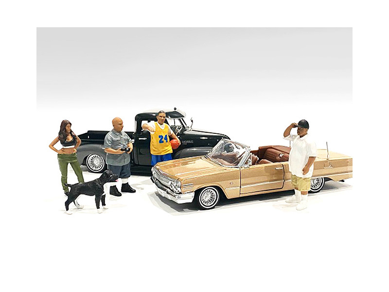 Lowriderz Dog 5 piece Figurine Set 1/24 Scale Models American Diorama 76373 76374 76375 76376