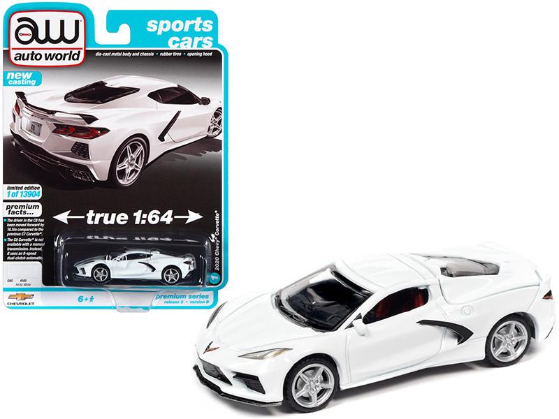 2020 Chevrolet Corvette C8 Stingray Arctic White Sports Cars Limited Edition 13904 pieces Worldwide 1/64 Diecast Model Car Autoworld 64312 AWSP065 B