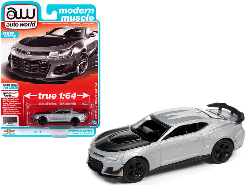 2019 Chevrolet Camaro ZL1 1LE Satin Steel Gray Metallic Black Hood Modern Muscle Limited Edition 12920 pieces Worldwide 1/64 Diecast Model Car Autoworld 64312 AWSP066 B