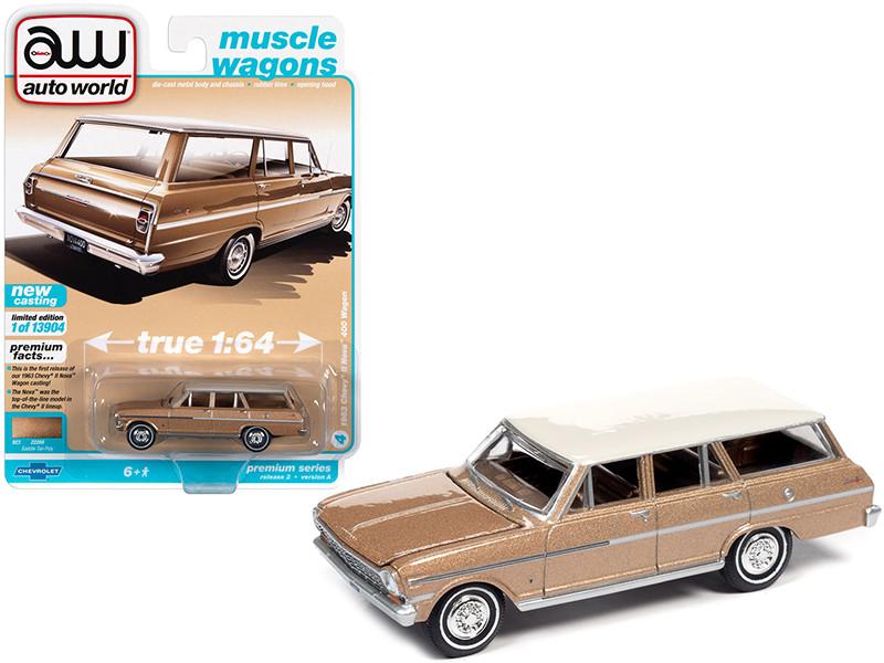 1963 Chevrolet II Nova 400 Station Wagon Saddle Tan Metallic Ermine White Top Muscle Wagons Limited Edition 13904 pieces Worldwide 1/64 Diecast Model Car Autoworld 64312 AWSP067 A