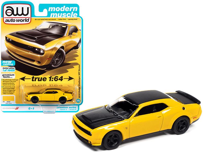 2018 Dodge Challenger SRT Demon Yellow Jacket Black Modern Muscle Limited Edition 14408 pieces Worldwide 1/64 Diecast Model Car Autoworld 64312 AWSP068 B