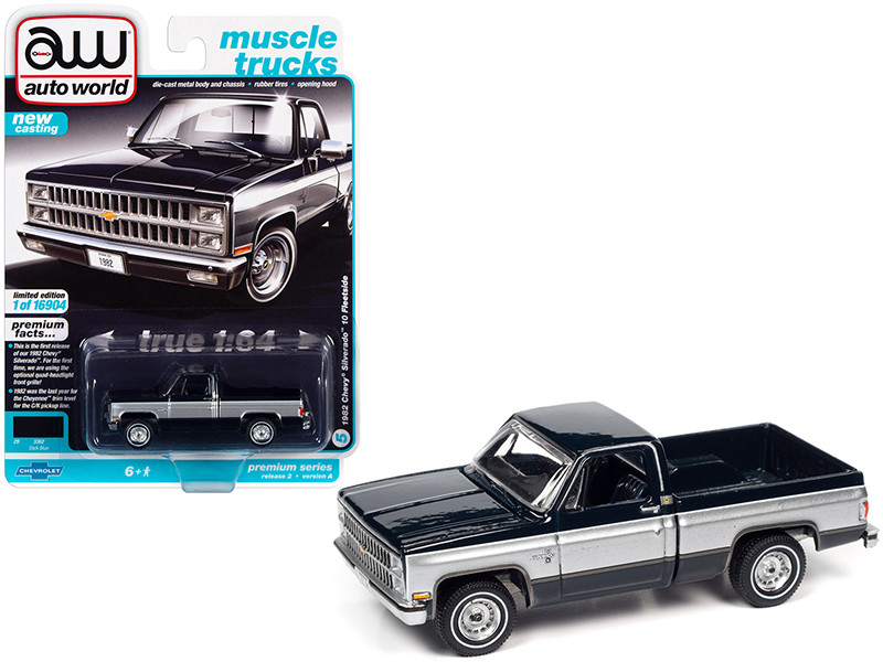 1982 Chevrolet Silverado 10 Fleetside Pickup Truck Dark Blue Silver Sides Muscle Trucks Limited Edition 16904 pieces Worldwide 1/64 Diecast Model Car Autoworld 64312 AWSP069 A