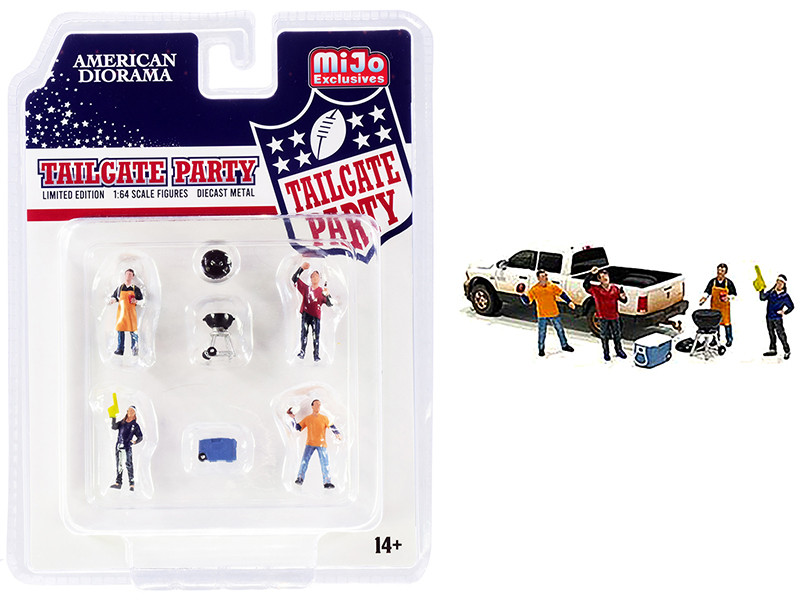 Tailgate Party Diecast Set 6 pieces 4 Figurines 2 Accessories 1/64 Scale Models American Diorama 76470