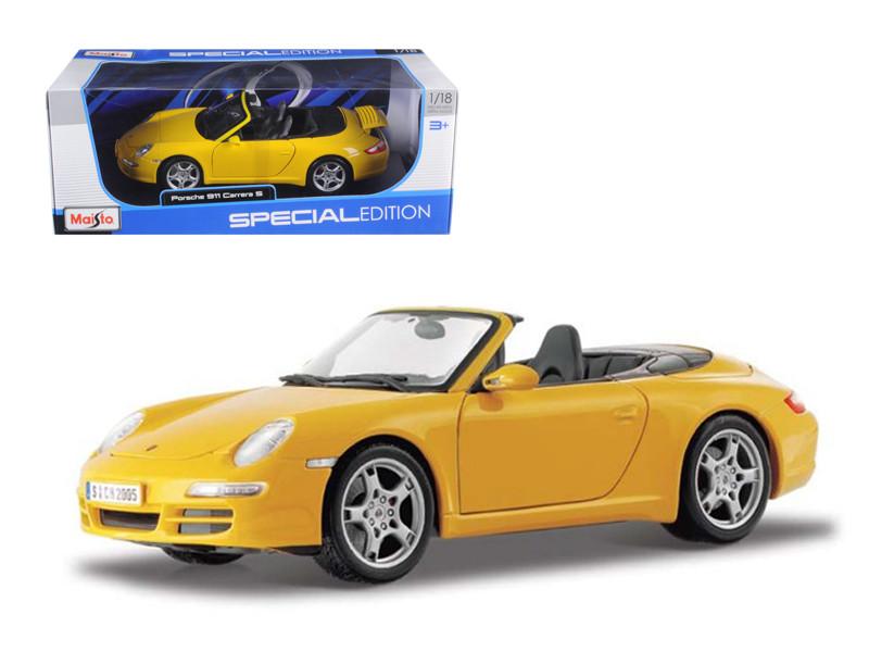 Porsche 911 997 Carrera S Cabrio Yellow 1/18 Diecast Model Car Maisto 31126