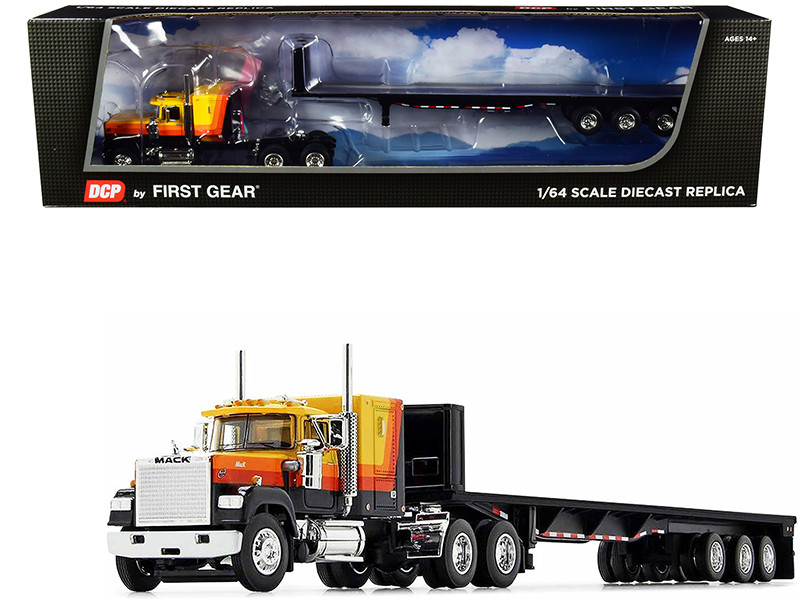 """Mack Super-Liner 60"""" Sleeper Cab Tri-Axle Flatbed Trailer Yellow Black Stripes 1/64 Diecast Model DCP First Gear 60-0975"""