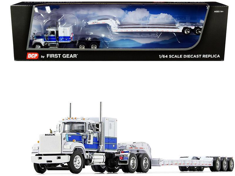 "Mack Super-Liner 60"" Sleeper Cab Talbert Tri-Axle Lowboy Trailer White Blue 1/64 Diecast Model DCP First Gear 60-0976"