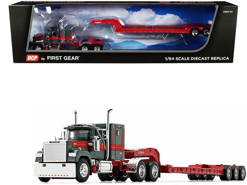 "Mack Super-Liner 60"" Sleeper Cab Talbert Tri-Axle Lowboy Trailer Gun Metal Green Mack Red 1/64 Diecast Model DCP First Gear 60-0977"