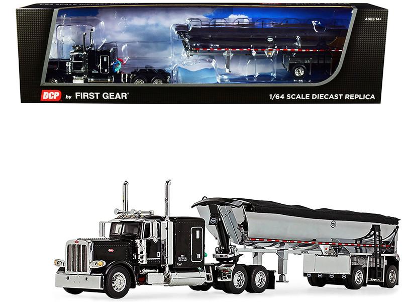 "Peterbilt 389 63"" Flattop Sleeper Cab MAC Half Round End Dump Spread-Axle Trailer Tarp Black Chrome 1/64 Diecast Model DCP First Gear 60-1004"