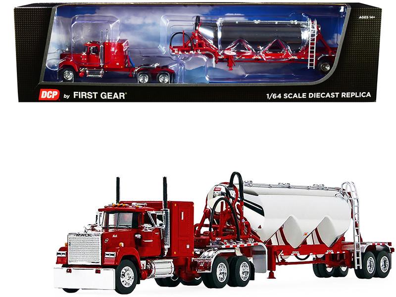 """Mack Super-Liner 60"""" Flattop Sleeper Cab Heil 3-Drop Pneumatic Tank Trailer Red Chrome 1/64 Diecast Model DCP First Gear 60-1013"""