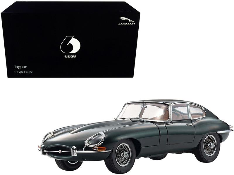 Jaguar E-Type Coupe RHD Right Hand Drive Dark Green E-Type 60th Anniversary 1961-2021 1/18 Diecast Model Car Kyosho 08954
