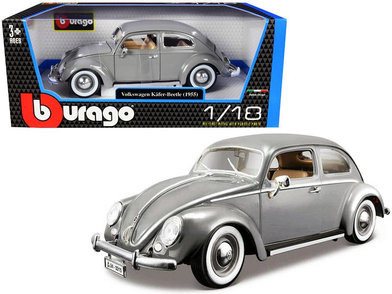 1955 Volkswagen Kafer Beetle Gray 1/18 Diecast Model Car Bburago 12029