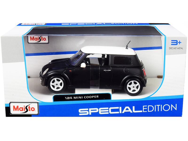 Mini Cooper Matt Black White Top 1/24 Diecast Model Car Maisto 31219
