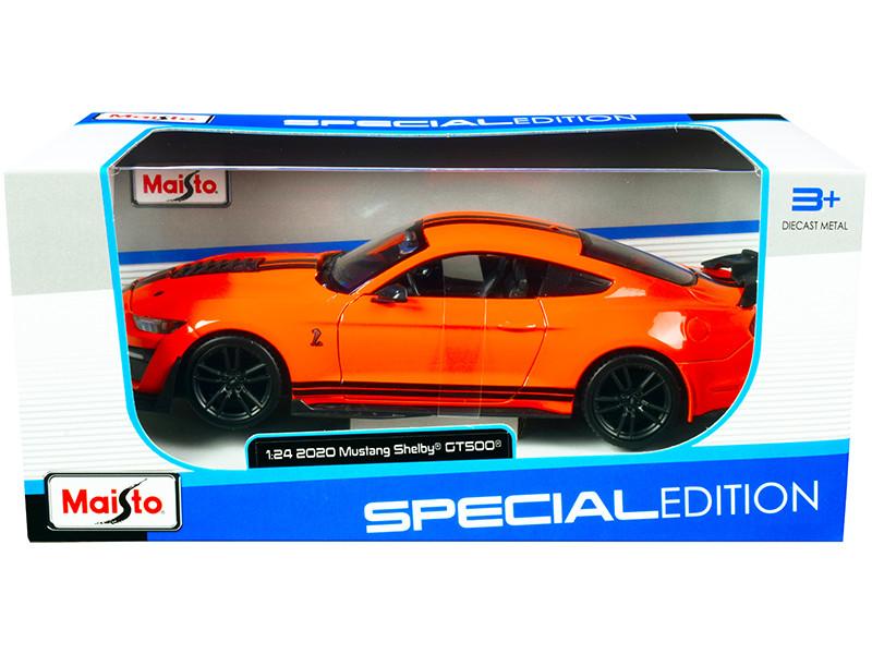 2020 Ford Mustang Shelby GT500 Bright Orange Black Stripes 1/24 Diecast Model Car Maisto 31532