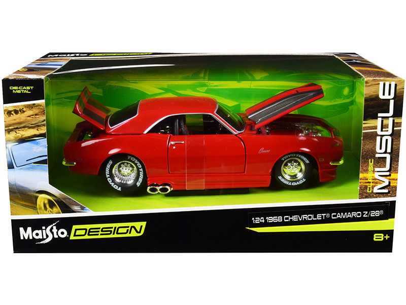 1968 Chevrolet Camaro Z/28 Red Silver Stripes Classic Muscle 1/24 Diecast Model Car Maisto 32508