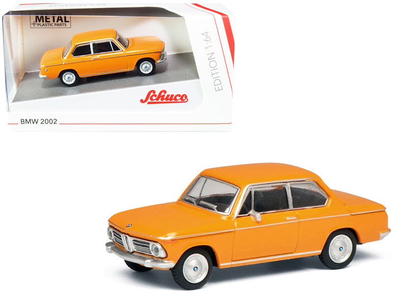 BMW 2002 Orange Silver Stripes 1/64 Diecast Model Car Schuco 452022700