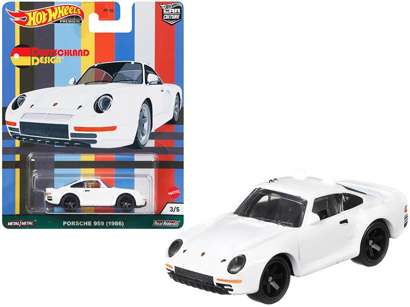 1986 Porsche 959 White Deutschland Design Series Diecast Model Car Hot Wheels GRJ70
