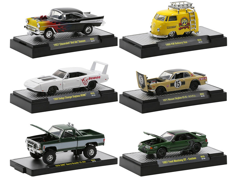 Auto Meets Set of 6 Cars DISPLAY CASES Release 55 Limited Edition 8250 pieces Worldwide 1/64 Diecast Model Cars M2 Machines 32600-55