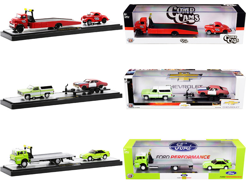 Auto Haulers Set of 3 Trucks Release 45 Limited Edition 7250 pieces Worldwide 1/64 Diecast Models M2 Machines 36000-45