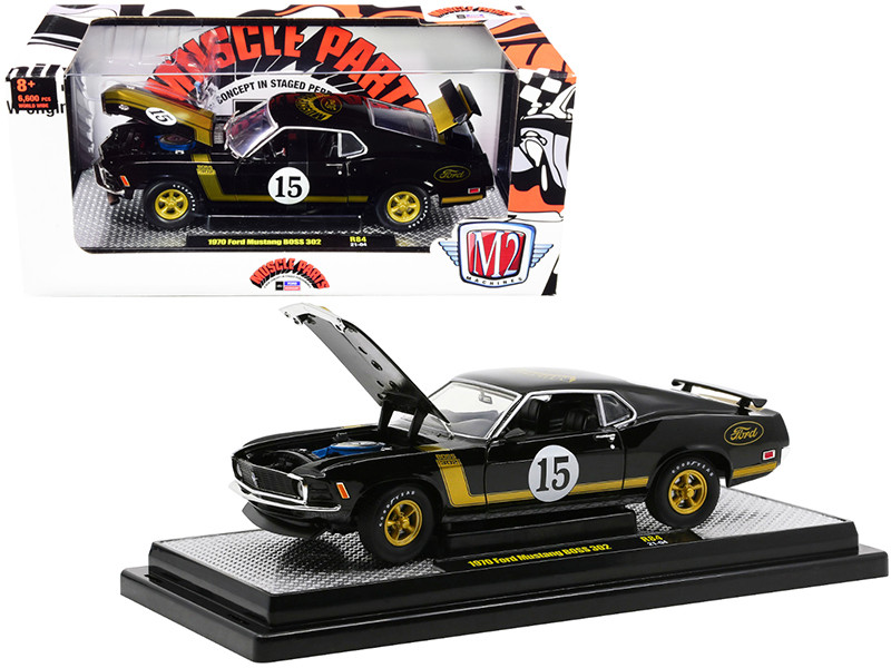 1970 Ford Mustang BOSS 302 #15 Muscle Parts Black Gold Stripes Limited Edition 6600 pieces Worldwide 1/24 Diecast Model Car M2 Machines 40300-84 A