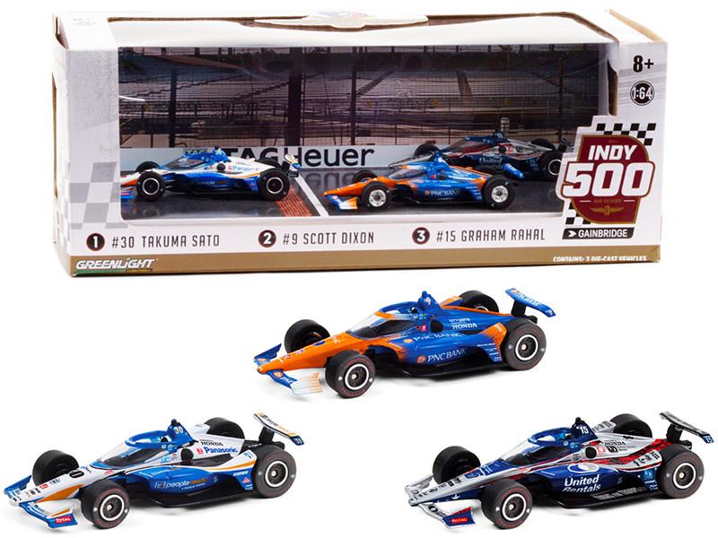 2020 Indianapolis 500 Podium Set of 3 IndyCars 1/64 Diecast Model Cars Greenlight 10885