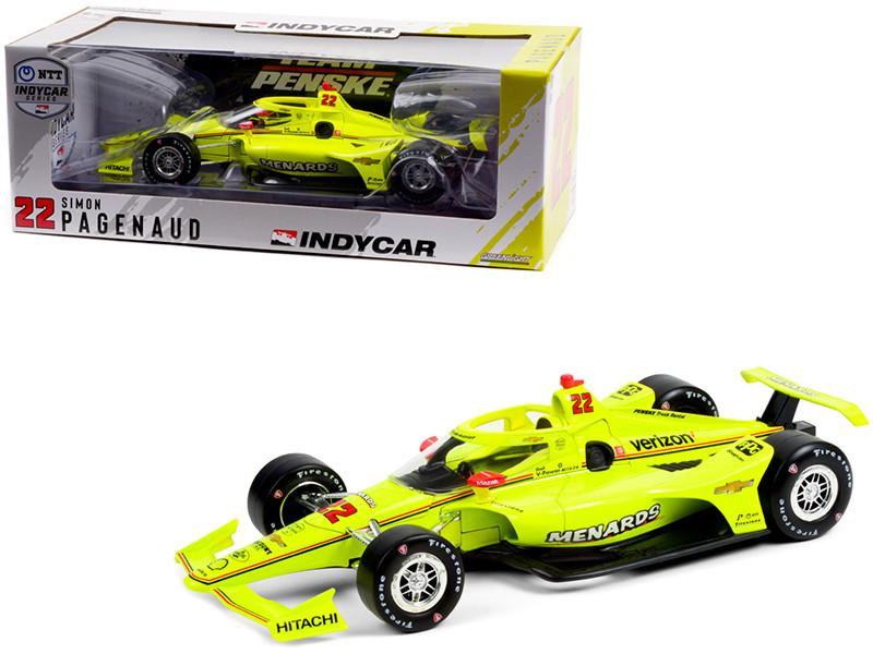 Dallara IndyCar #22 Simon Pagenaud Menards Team Penske NTT IndyCar Series 2021 1/18 Diecast Model Car Greenlight 11108